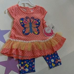 Annette kids 24m floral butterfly outfit